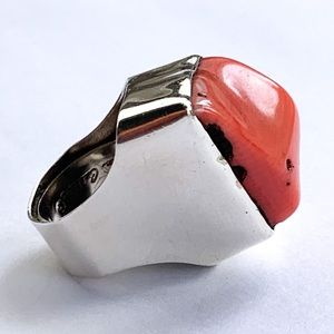 Rebecca Collins Coral and Sterling Statement Ring
